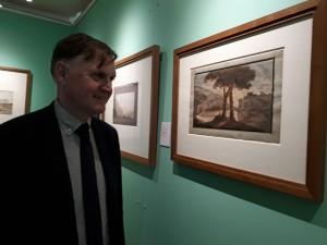 Gastkurator Hermann Mildenberger vor seinem Lieblingsaquarell von Goethe @ BdC